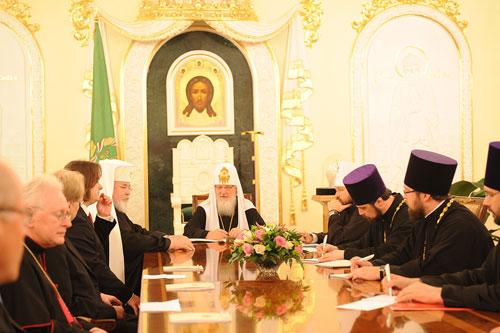 встреча Патриарха Московского и всея Руси Кирилла с архиепископом Карельским и всей Финляндии Львом