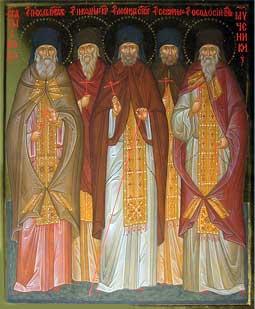 Священномученики архимандриты Павел (Моисеев) и Феодосий (Соболев), иеромонахи Никодим (Щапков) и Серафим (Кулаков).